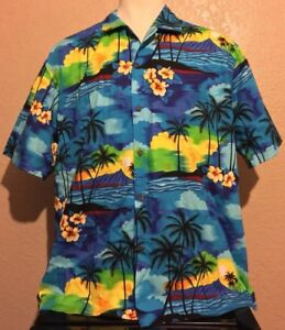 14c522f8a Image is loading Aloha-Republic-Mens-2XL-Blue-Floral-Hibiscus-Sunset-