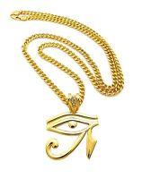 Mens Hip Hop Egyptian Illuminati Eye Of Horus Pendant 36 Cuban Chain Necklace