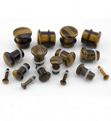 10 sizes Pair of Tigers Eye Stone Plugs Double Flared ear lobe 6mm to 25mm