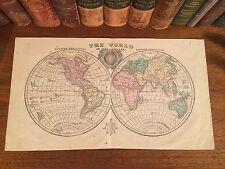 Original 1855 Antique Pre-Civil War Hand-Colored Map WORLD Globe in Hemispheres
