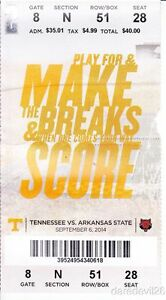 2014 Tennessee Vols vs Arkansas State Red Wolves NCAA ...