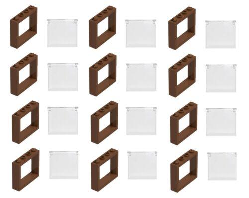 ☀️LEGO 12 NEW Reddish Brown 1 X 4 X 3 WINDOWS GLASS TOWN CITY HOUSE PIECES