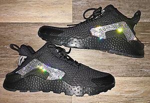 Wmns Nike Air Huarache Ultra Black Crystal Bling Shoes Swarovski ... 8566231a62
