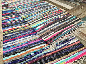 Tappeti In Tessuto Riciclato : Fair trade chindi rag rugs striped loomed woven recycled cotton