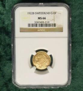 1922-B-NGC-MS-66-Switzerland-GOLD-10-Francs-Helvetia-Gem-MS-66-Certified-Coin