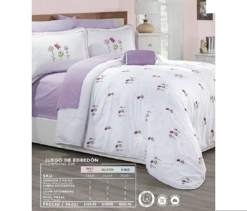 Amore Floral Weiß Lilac Comforter Set 50% Cotton New Girls Teens Home Bedding