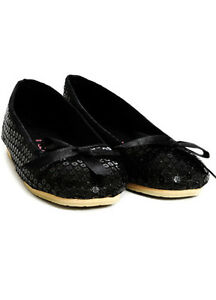 Girls Hard Sole Sequin Black Fairy Ballet Shoes