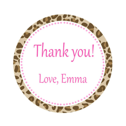 40 Leopard Stickers Birthday Party Baby Girl Shower Personalized Favor Labels A1
