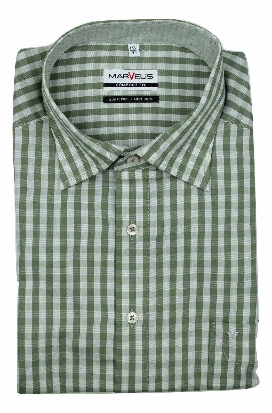 Khaki Check Textured Spread Collar