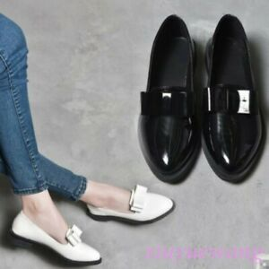 Womens-Bowknot-Decor-Patent-Leather-Slip-on-Loafers-Low-Block-Heel-Casual-Shoes