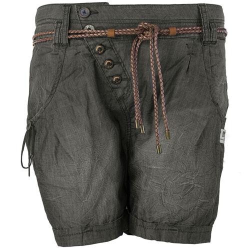 Khujo Damen Shorts abnehmbarer Gürtel Knopfleiste Kurze Hose Damenshorts