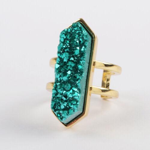 Hexagon Titanium Rainbow Natural Druzy Cuff Ring Gold Silver Plated Bezel HZG425