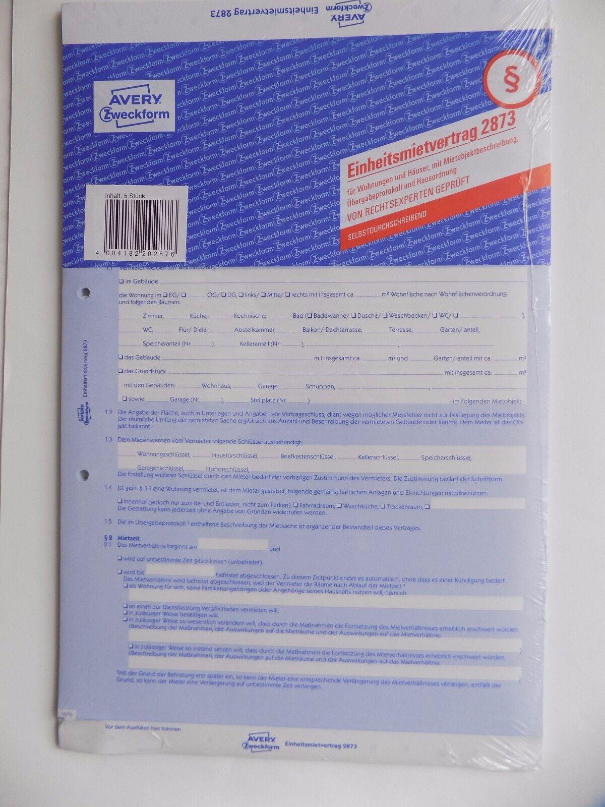 AVERY Zweckform 2873 5-fach Einheitsmietvertrag für Wohnungen /& Häuser 5 Stück