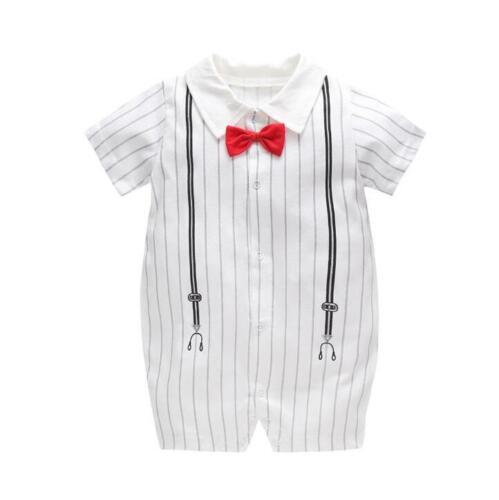 1 pc baby boys cotton summer rompers boys birthday bodysuit party wedding Tuxedo