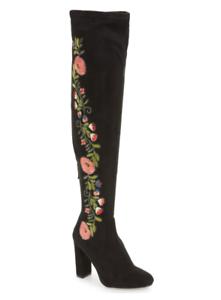 234b15f8486 Steve Madden Emotions Women s Black Over Knee Stretch Boot Sz 7 3048 ...