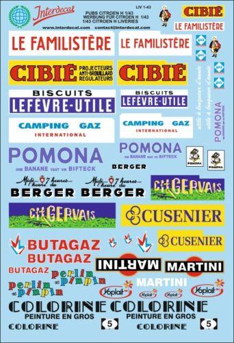 Werbung für Citroen H Pubs Decals 1//43 Naßschiebebild Abziehbild LIV1-43