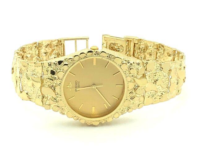 10k Yellow Gold Nugget Link Wrist Watch Bracelet With Seiko 7 5 52 Grams