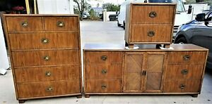free shipping 6f050 effc7 Details about 3 Pc Vintage MCM DIXIE CHEVRON Campaign Bedroom Set Mid  Century Modern