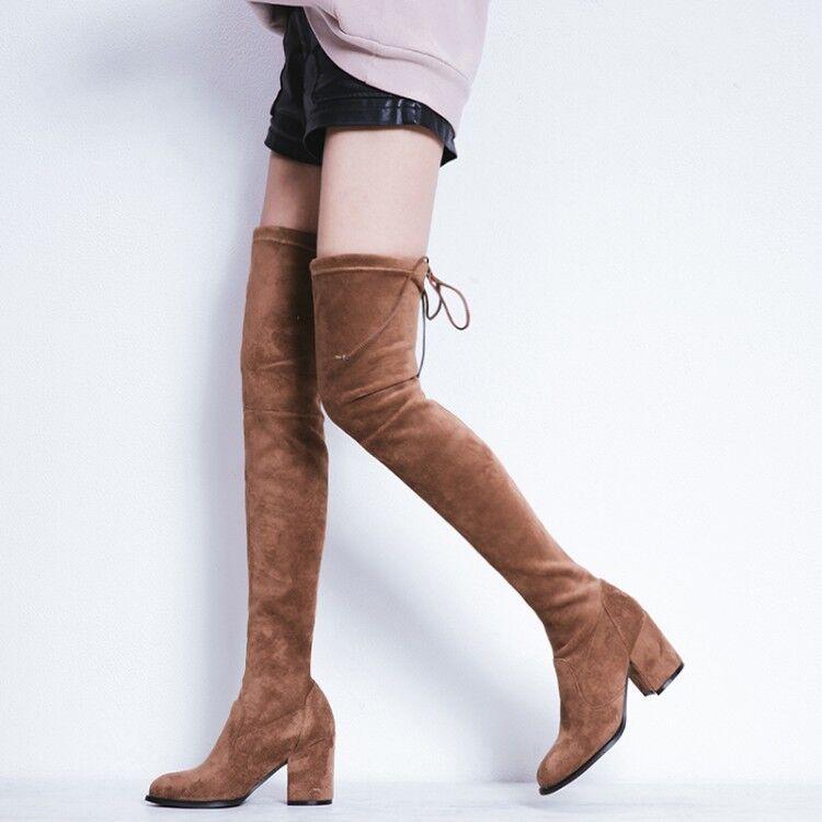 Mujer Cuero sobre la rodilla alta botas de gamuza largo elástico Tacones Altos Zapatos MGIC
