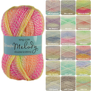 King-Cole-Melody-DK-100g-Multi-Coloured-Self-Striping-Baby-Knitting-Yarn