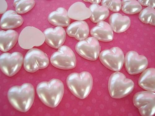 50 Flatback 14mm Pearly Heart Shape Half Pearl//Wedding//Embellishment B124-Big