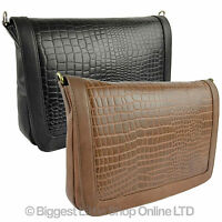 Ladies Leather Clutch/cross Body Bag By Gigi Othello Collection Classic Croc