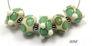 ROA-Lampwork-5-Ivory-amp-Aqua-Geometric-Set-Handmade-USA-Art-Glass-Beads-SRA