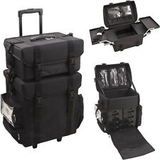 Black Professional Train Case Trolley Rolling Makeup Artist Soft Sided Storage
