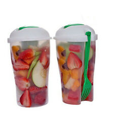 Lunch To Go Dressing Fork Shaker Fresh Food Container Fruit Salad Serving Cup