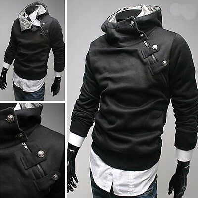 Vogue Solid Color Men Faux Fur High Neck Hooded Sweatshirt Jacket Oblique Zipper