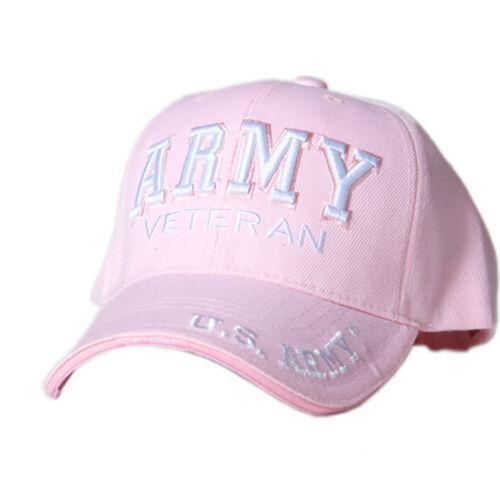 US Honor Embroidered Army Veteran Pink Baseball Caps Hats