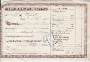 The-National-Telephone-Company-Ltd-1909-Received-Official-Receipt-Ref-36076