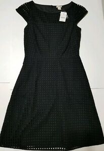NWT-J-Crew-Square-Neck-Eyelet-Lace-Dress-Black-Size-0-Cap-Sleeve-Fit-and-Flare