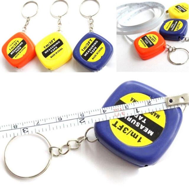 1x Mini Keychain Key Ring Easy Retractable Tape Measure Pull Ruler 1m Random  ES