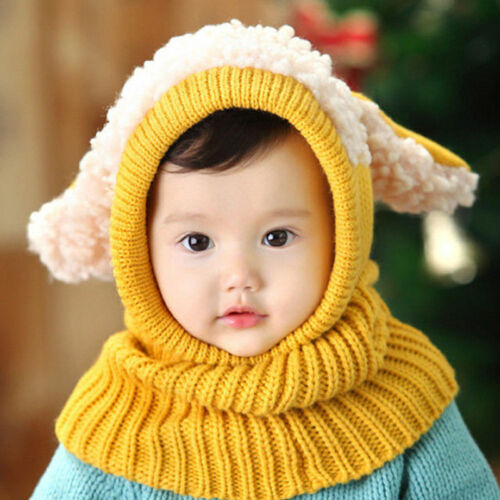 Cute Toddler Girls Boys Warm Hat Winter Beanie Hooded Scarf Earflap Knitted Caps