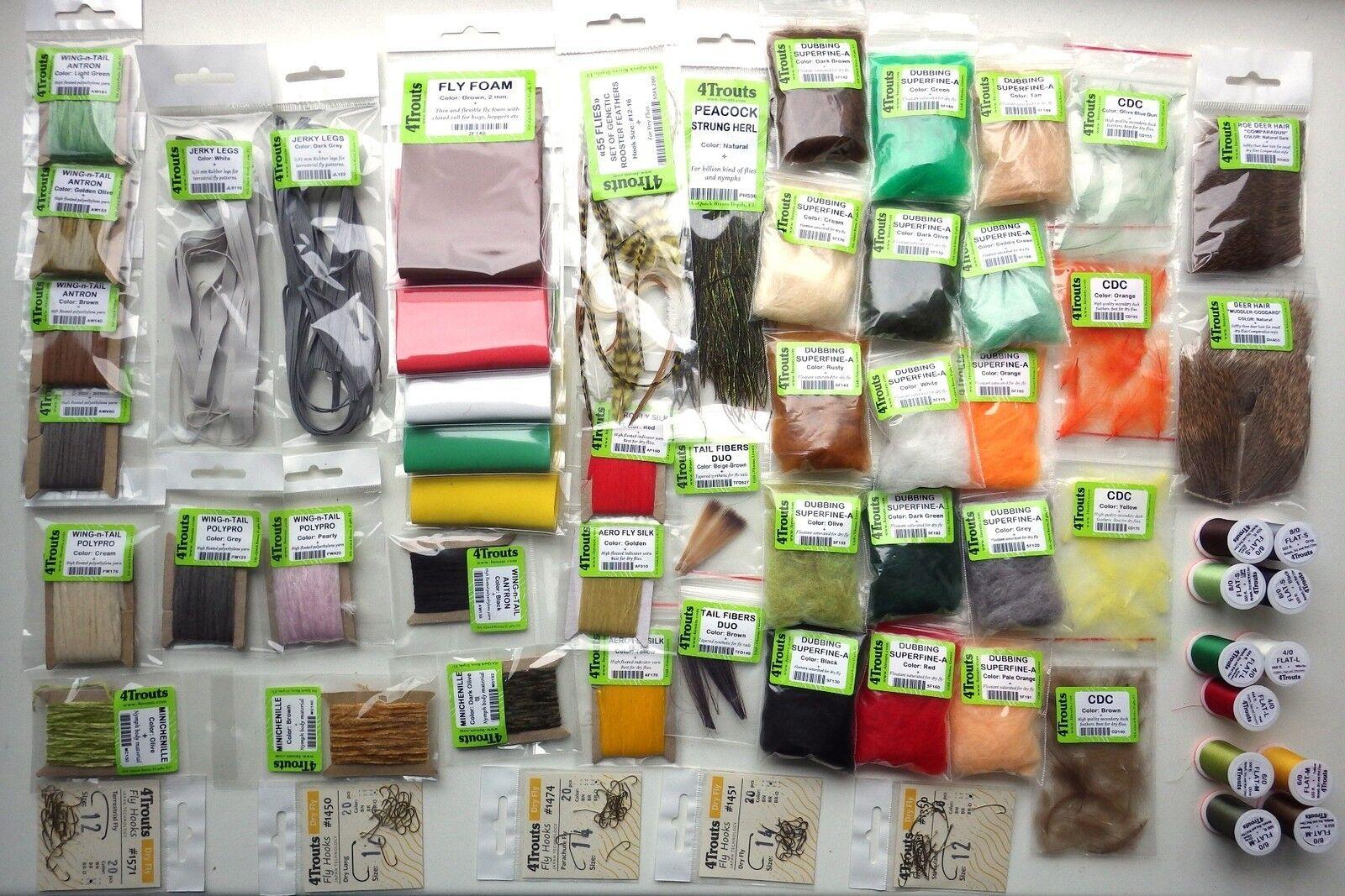 Seco Para Moscas Gran Kit para moscas material Ganchos Threads For Bug plecópteros mosca seca