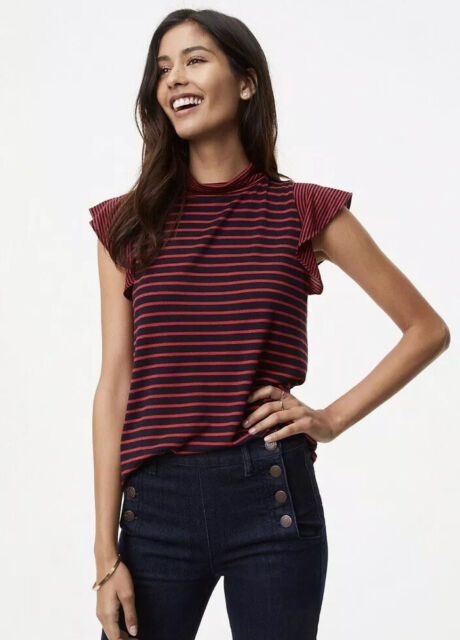 NWT Womens Ann Taylor LOFT Striped Mock Neck Flutter Sleeve Blouse Top Sz Large
