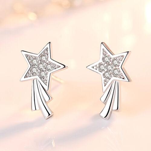 Cristal Argent Sterling 925 SHOOTING STAR Clous d/'oreilles pour les femmes Bijoux