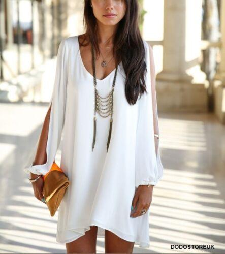 Fashion Casual Dress Women Chiffon Deep V-neck Split Sleeves Irregular