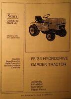 Sears Craftsman Ff/24 Lawn Yard Farm Garden Tractor Owner & Parts Manual 54pg