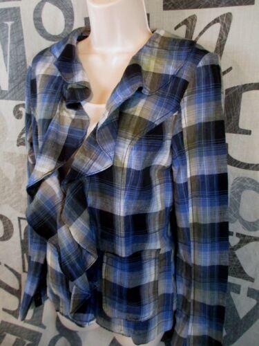 People Størrelse Åben Jacket Plaid Blå Lommer Boho 4 Free Shirt Peplum Front Ruffle 8wd1q