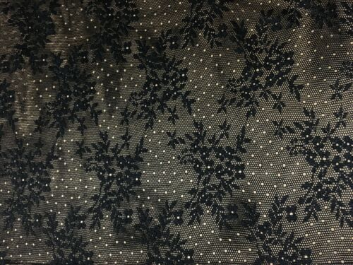 FLORAL BLACK LACE FABRIC 150 CM WIDE-SOLD BY THE METER