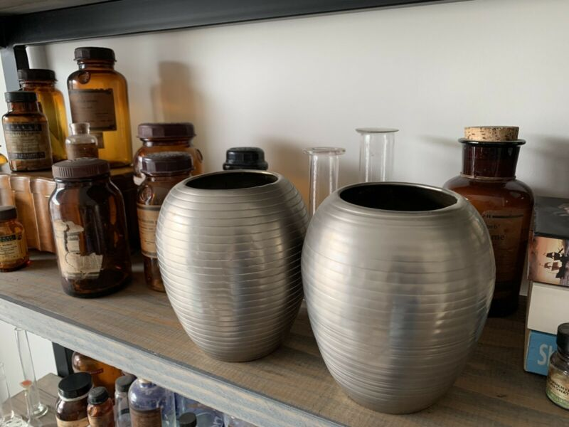 Small silver vases