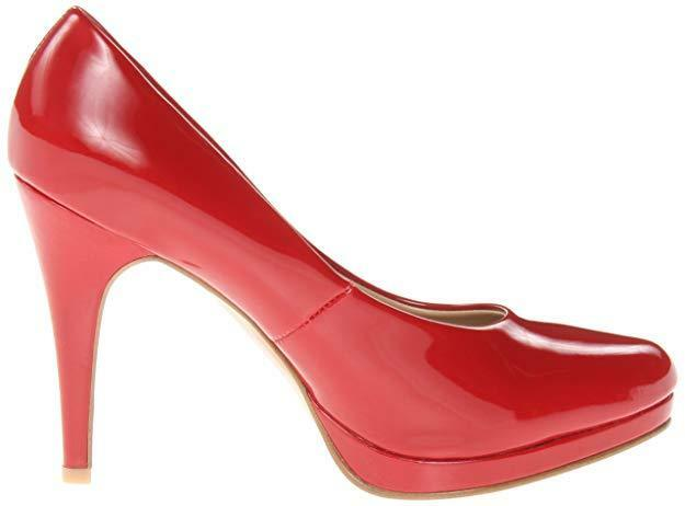 MONSTER RSVP  Macall  Women 13 M 14 M RED Hot Synthetic Platform Round Toe Pumps