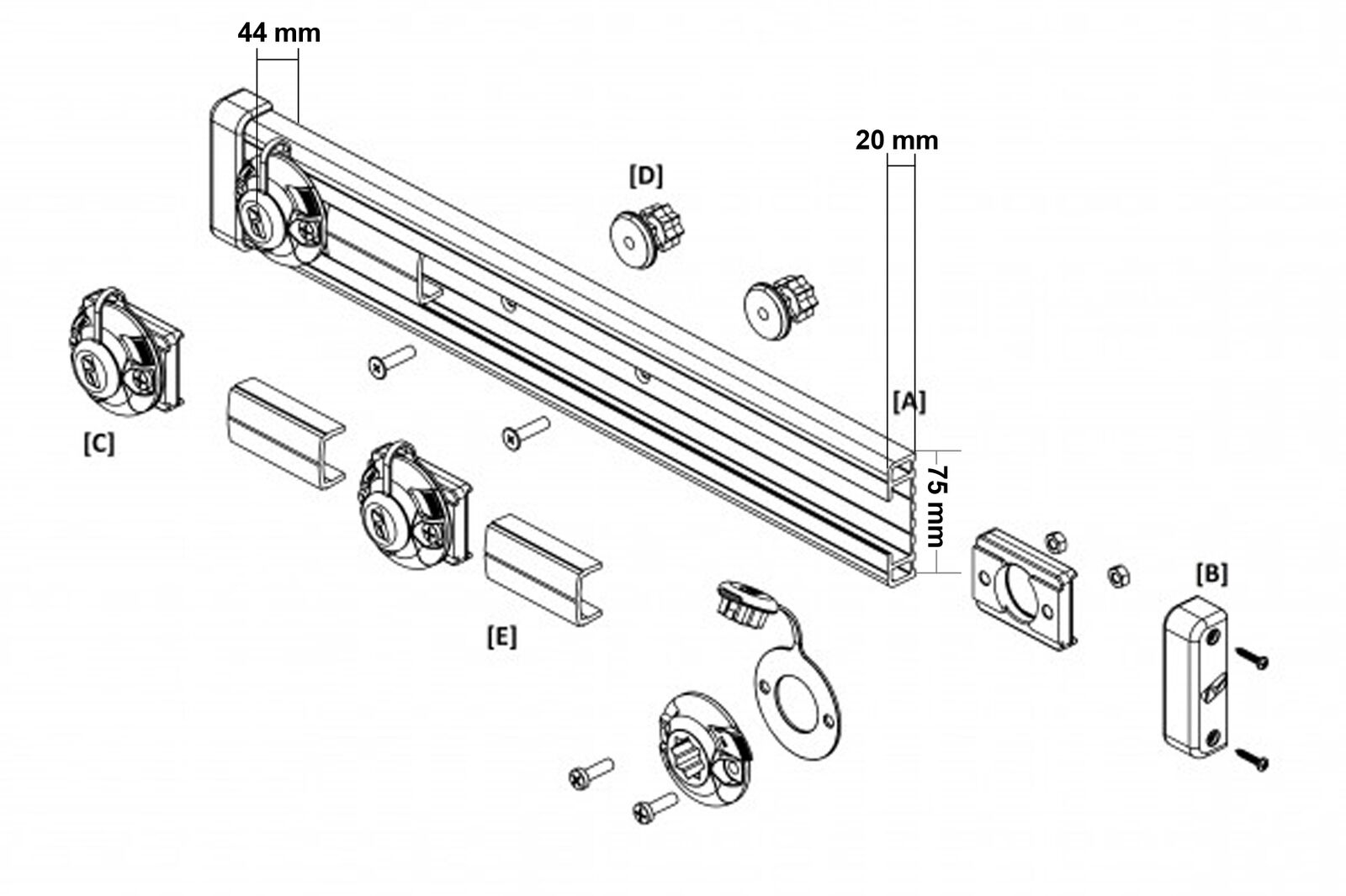 Railblaza Tracport Dash 1000, incl. (1 m) incl. 1000, 4 Tracnut Halterungen 03-4105-11 552b3d