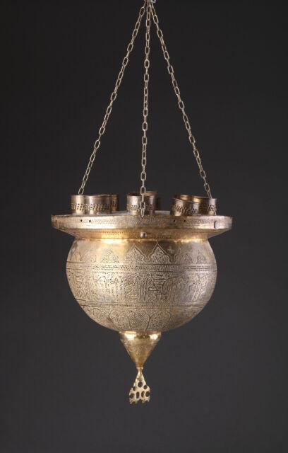 19th C. ANTIQUE ARABIC ISLAMIC HANGING BRASS MOSQUE LAMP EGYPT OTTOMAN ARAB