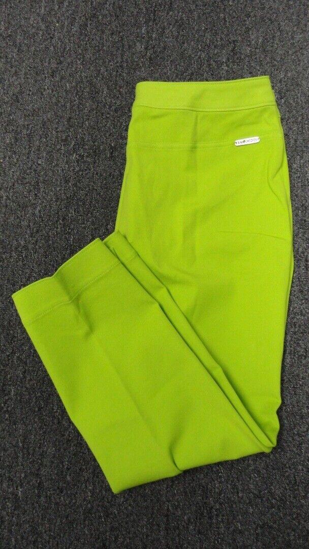 ST. JOHN Lime Cotton Straight Leg Solid Casual Crop Pants NWT Sz 10 GG4732