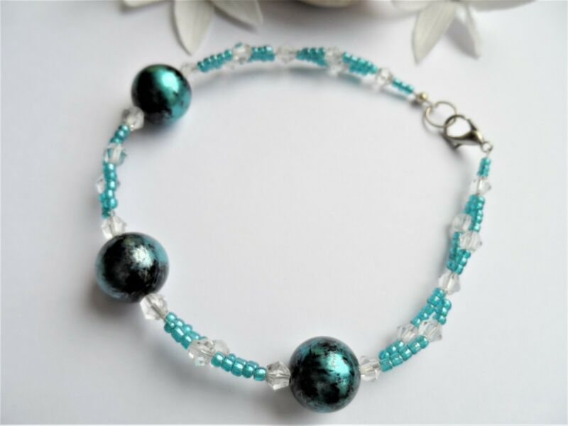 Handmade Glass Bead Bracelet ~ Blue Beads With 2 Rows Of Seed Beads New