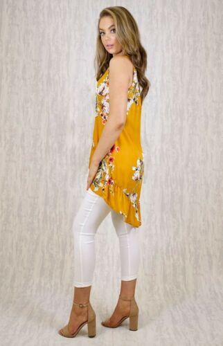 MUSTARD FRILL HIGH LOW TOP WITH FLORAL PRINT