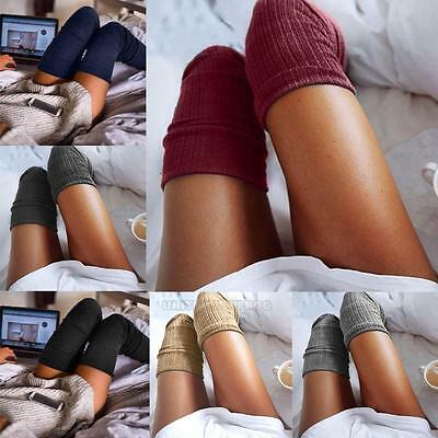 Women Ladies Warm Knitted Over Knee Thigh High Stockings Socks Pantyhose Tights